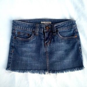 Refuge Fringed Denim Mini Skirt